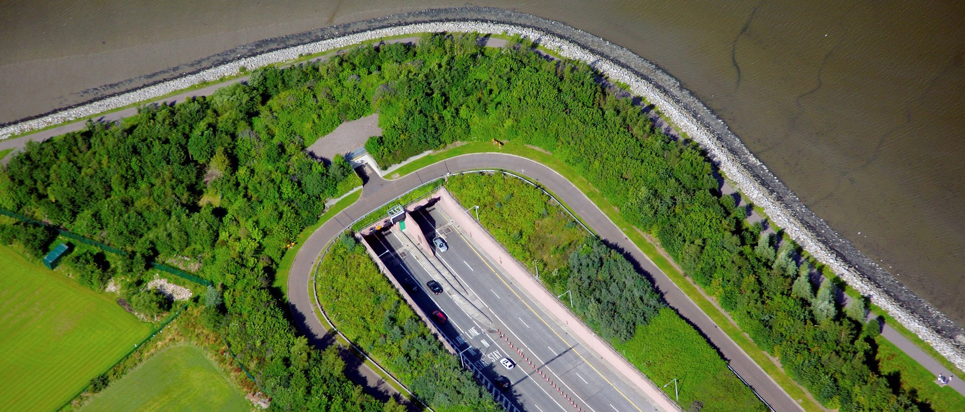 Ariel view of tunnel entrance to the northbound bore